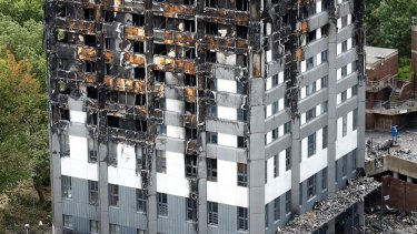 The burnt Grenfell Tower