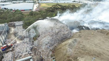 The July 2017 fire at the SKM's plant in Coolaroo, where tonnes of recycling had been stockpiled.