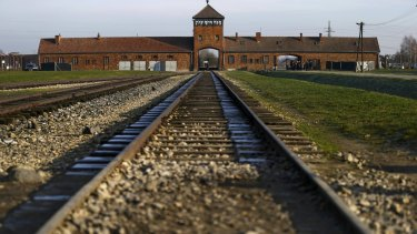 The gatehouse of the Nazi extermination and concentration camp Auschwitz-Birkenau in Brzezinka, Poland.