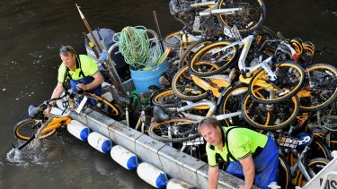 Contractors collect oBikes from the Yarra River.