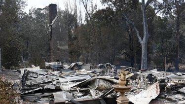 A burnt-out house in Sarsfield, East Gippsland.