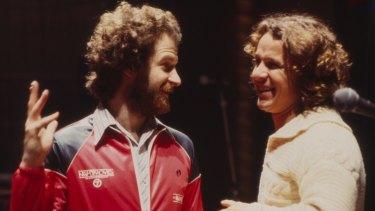 """Michael Gudinski and Skyhooks singer Graham """"Shirley"""" Strachan circa 1970s."""