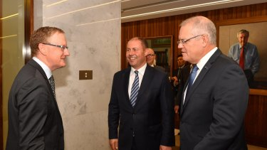 Prime Minister Scott Morrison and Treasurer Josh Frydenberg meet with the RBA Governor Philip Lowe at the Reserve Bank of Australia in Sydney, Wednesday, May, 22, 2019.