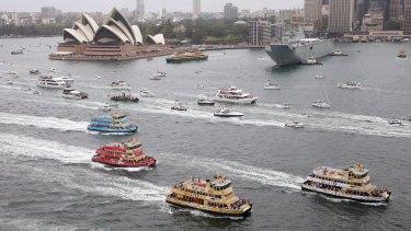 The First Fleet ferries race on Sydney Harbour on Australia Day.