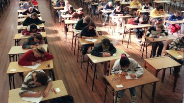 Students sit the selective high school test.