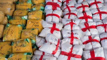 915 kilograms of heroin seized from a drug vessel in the Western Indian Ocean in January 2018.