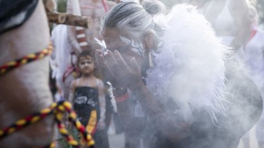 An Indigneous smoking ceremony ahead of the parade.