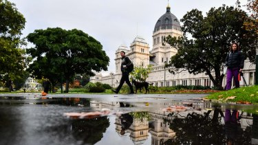 Rain at the Royal Exhibition Building in Carlton Gardens this month.