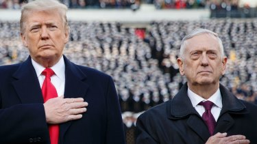 Donald Trump and Defence Secretary Jim Mattis in happier times: two weeks ago.
