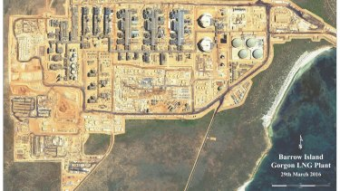 A satellite view of the Gorgon project on Barrow Island.