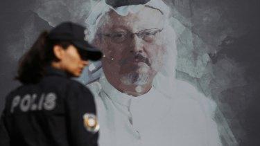 A mural of slain Saudi journalist Jamal Khashoggi.