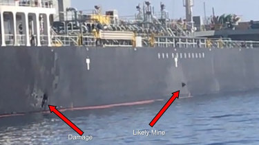 US Central Command released this image it says shows damage and a suspected mine on the Kokuka Courageous in the Gulf of Oman near the coast of Iran.