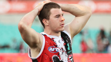 Jack Higgins after St Kilda's defeat by the Swans.