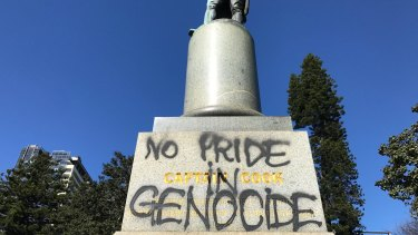 A statue of Cook is defaced in Sydney's Hyde Park last year.