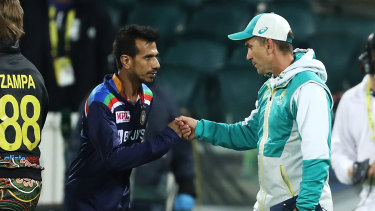 Yuzvendra Chahal and Justin Langer after the game in Canberra on Friday night.