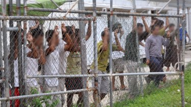 Asylum seekers at the Oscar compound in the Manus Island detention centre, Papua New Guinea.