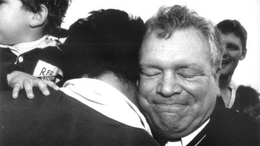 Jeffrey Sayle sheds a tear afer Randwick defeated Gordon in the 1992 NSW Rugby Union Grand Final.