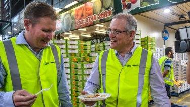 Craig Laundy and Scott Morrison, then treasurer, visit the Sydney Markets in Homebush in 2017.