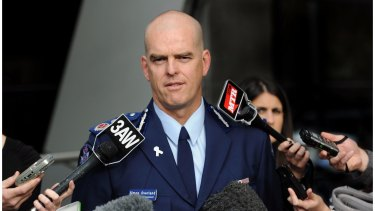 Victoria Police Chief Commissioner Simon Overland addresses media in 2011.