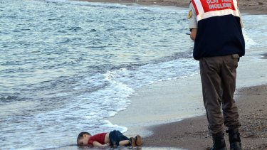 The body of three-year-old Alan Kurdi on the beach near Bodrum, Turkey, in 2015.