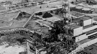 The aftermath of the Chernobyl nucler power plant blast, the world's worst nuclear accident, in April 1986.