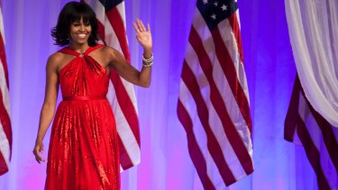 Michelle Obama on Inauguration Day in 2013, wearing a dress by Jason Wu.