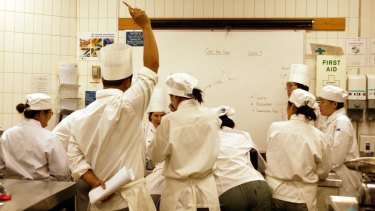 Trainee chefs at TAFE.
