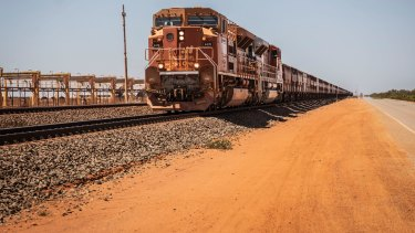 BHP iron ore is transported to Port Hedland in the Pilbara region.