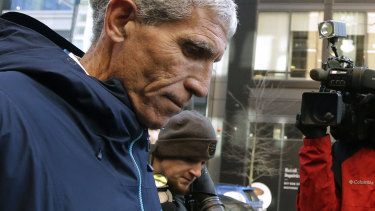 """William """"Rick"""" Singer, founder of the Edge College & Career Network, departs federal court in Boston after pleading guilty to charges in a nationwide college admissions bribery scandal in March."""