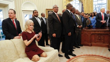 Kellyanne Conway, pictured here as Donald Trump met with leaders of the Historically Black Colleges and Universities, is considered part of Trump's family.