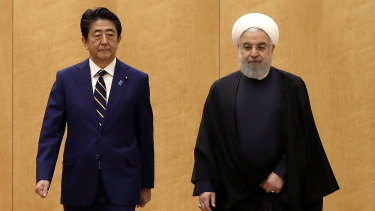 Japanese Prime Minister Shinzo Abe, left, and Iranian President Hassan Rouhani in Tokyo last week.