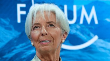 International Monetary Fund managing director Christine Lagarde at Davos, Switzerland.