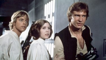 Mark Hamill, Carrie Fisher and Harrison Ford in the original Star Wars, 1977.