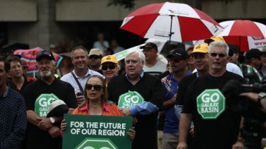 "Clive Palmer at a ""Go Galilee Basin"" rally at Mackay last year."
