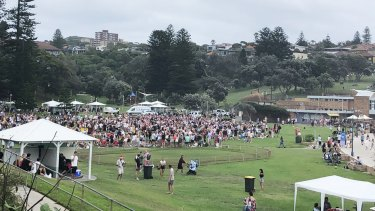 Revellers at Bronte Beach on Christmas Day during the COVID-19 pandemic.