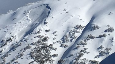 The avalanche on Mount Hotham on August 8, 2017.