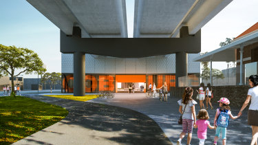 An artist's impression of the Coburg Station southern undercroft.