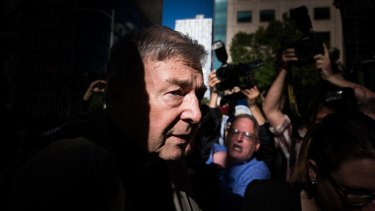 Cardinal George Pell arrives at the Melbourne County Court for sentencing in February 2019. His conviction was later overturned on appeal by the High Court of Australia.