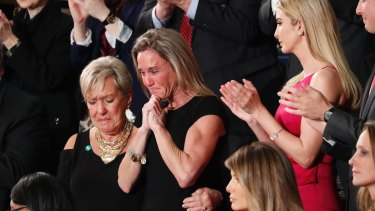 Carryn Owens, widow of Navy SEAL Ryan Owens, was acknowledged by President Donald Trump during his address to a joint session of Congress. in 2017
