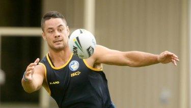 Jarryd Hayne at Parramatta Eels training in Sydney in  January.