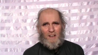 A man identified as American Kevin King pleads for his release in a video released by the Taliban.