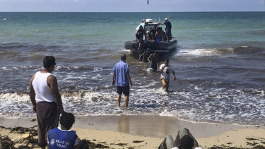 African migrants pulls in to shore east of Tripoli. According to the United Nations, the Libyan coast guard has intercepted or rescued more than 12,000 migrants in the Mediterranean as Europe's refugee crisis continues.