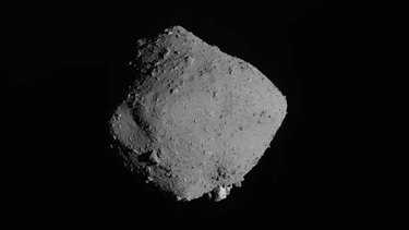 An image of asteroid Ryugu taken by Japan's Hayabusa2 spacecraft.
