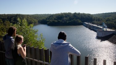 Water levels at Warragamba Dam were near full for much of 2016 and 2017 but have dropped to about two-thirds full.