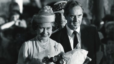 The Queen is welcomed by the Premier, John Cain, at Tullamarine.