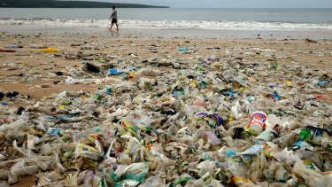 Plastic waste on the shore of Kedonganan Beach in Bali, Indonesia.