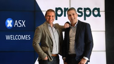 Beau Bertoli and Greg Moshal, Prospa's joint CEOs, just before listing on the ASX.