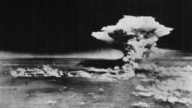 The plume of smoke about an hour after the nuclear bomb was detonated above Hiroshima on August 6, 1945.