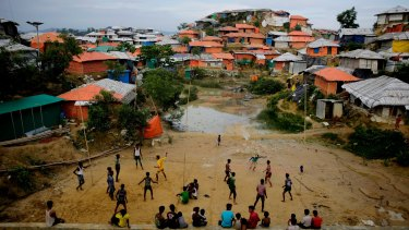 Rohingya refugees play at Balukhali Refugee Camp in Bangladesh.