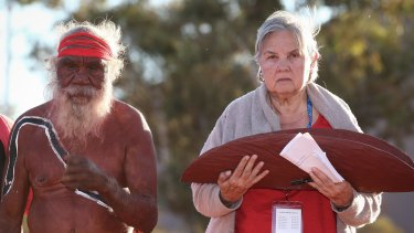 Mutitjulu elder Rolley Mintuma and Pat Anderson from the Referendum Council holding the Uluru Statement from the Heart. Michael Gordon covered the debate that led to the statement as one of his last assignments for <i>The Age</i>.